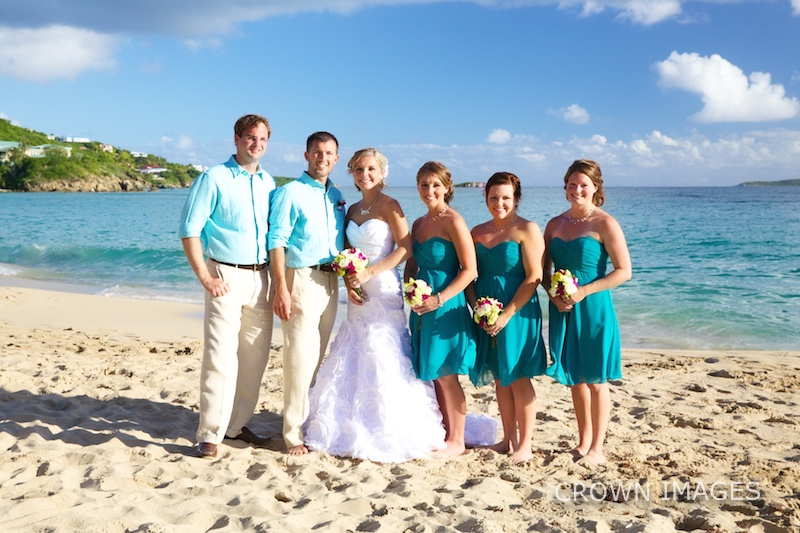 wedding party on the beach in the virgin islands