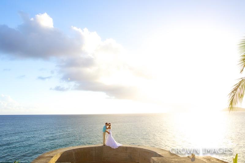 sunset wedding photos on st thomas