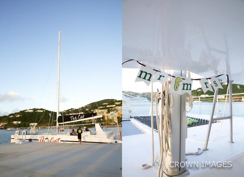 st thomas wedding sail on a boat