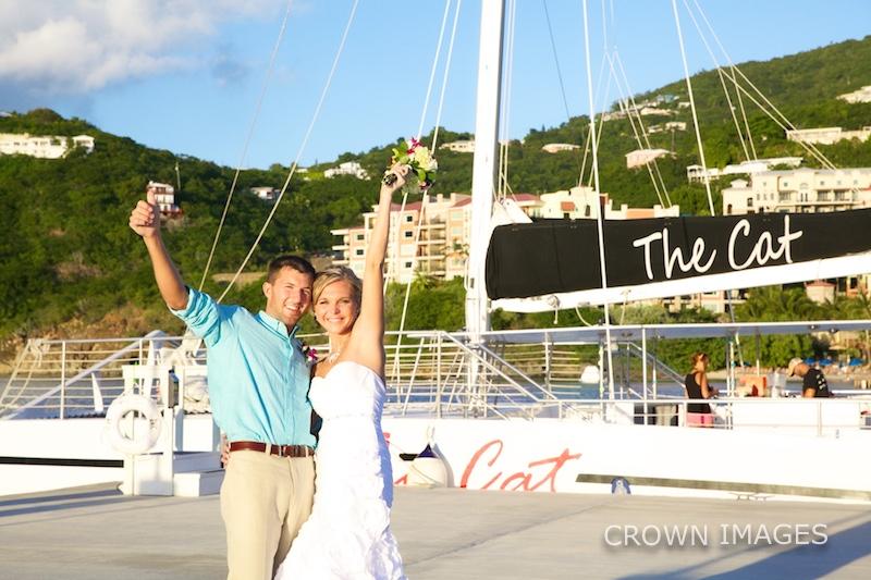 st thomas wedding reception on a sail boat