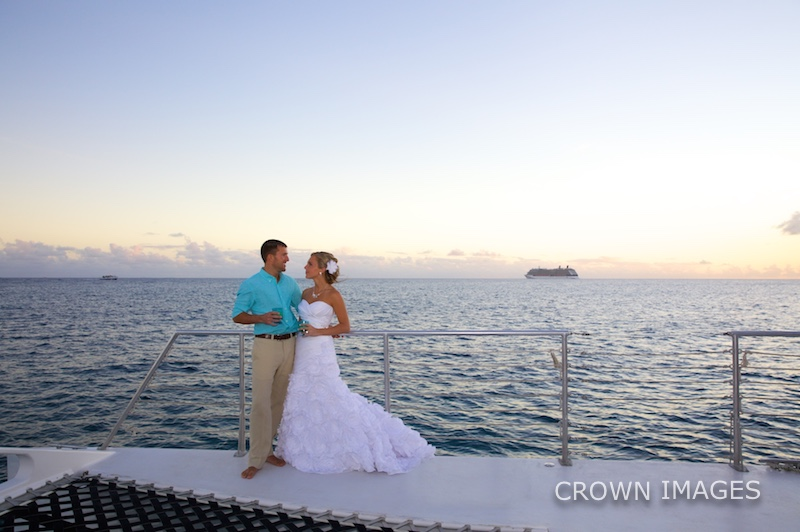 sunset sail for a wedding party in the virgin islands