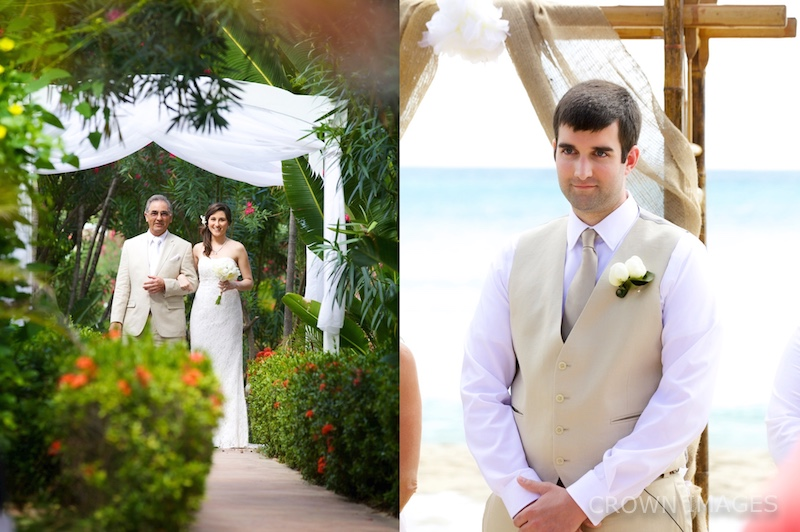 first look at a wedding ceremony on beach