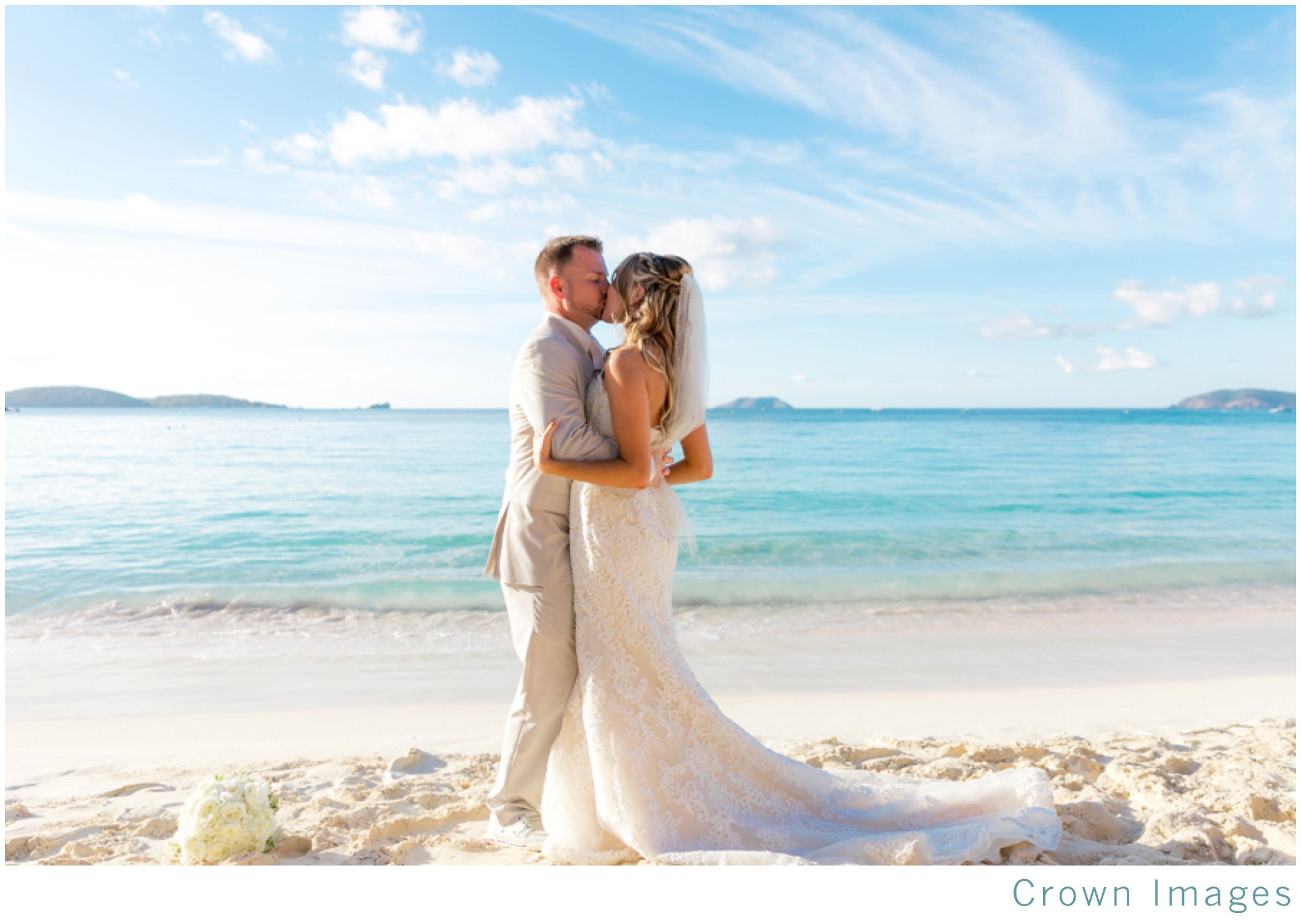 trunk bay beach wedding at sunset on st john