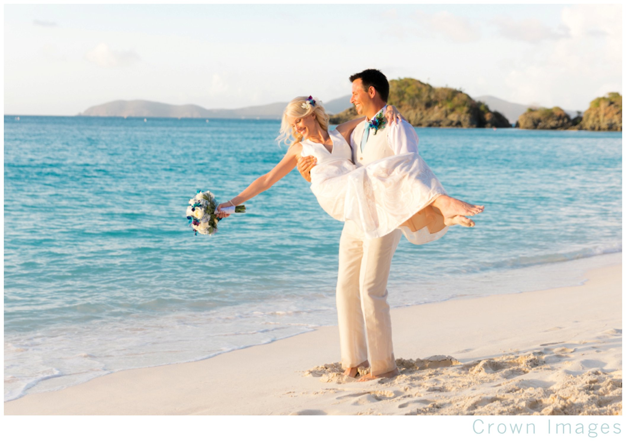 trunk bay beach wedding at sunset