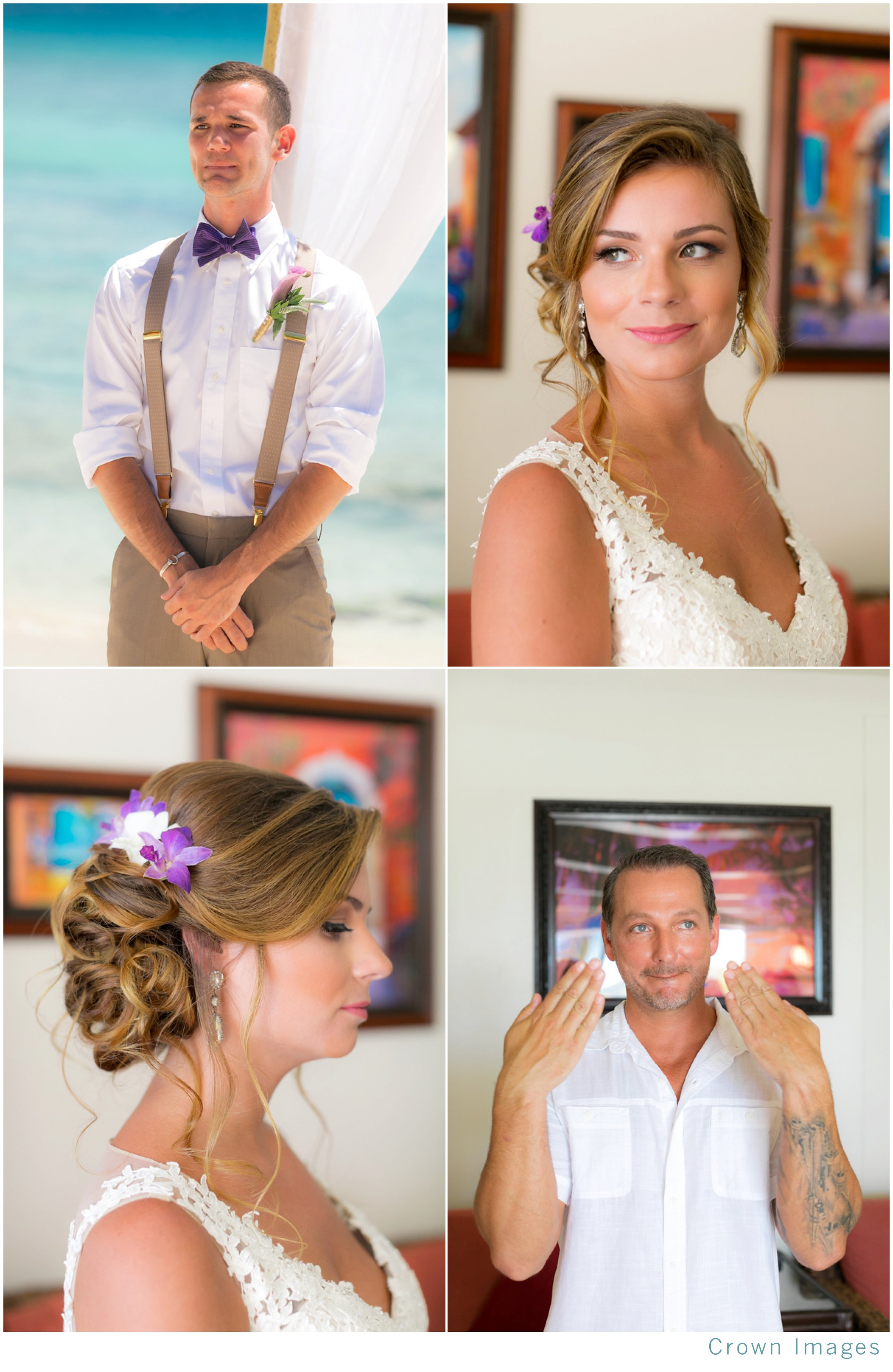first look for a beach wedding