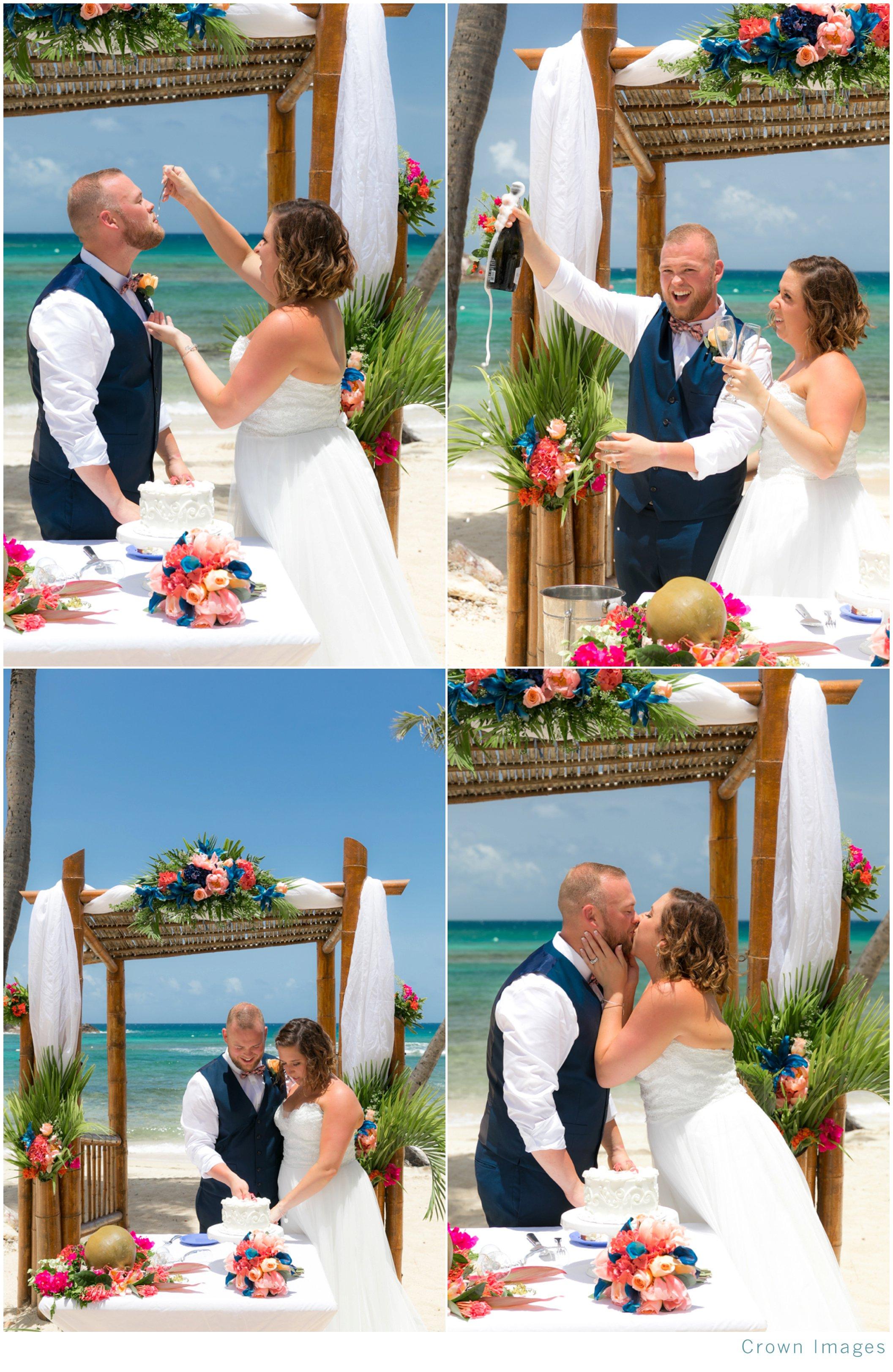 beach wedding cake cutting on st thomas