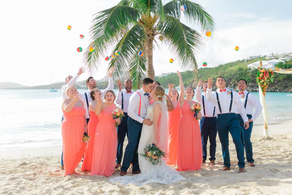fun beach wedding photos