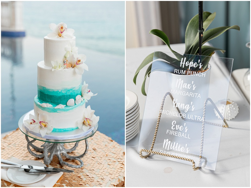 wedding cake and cocktails
