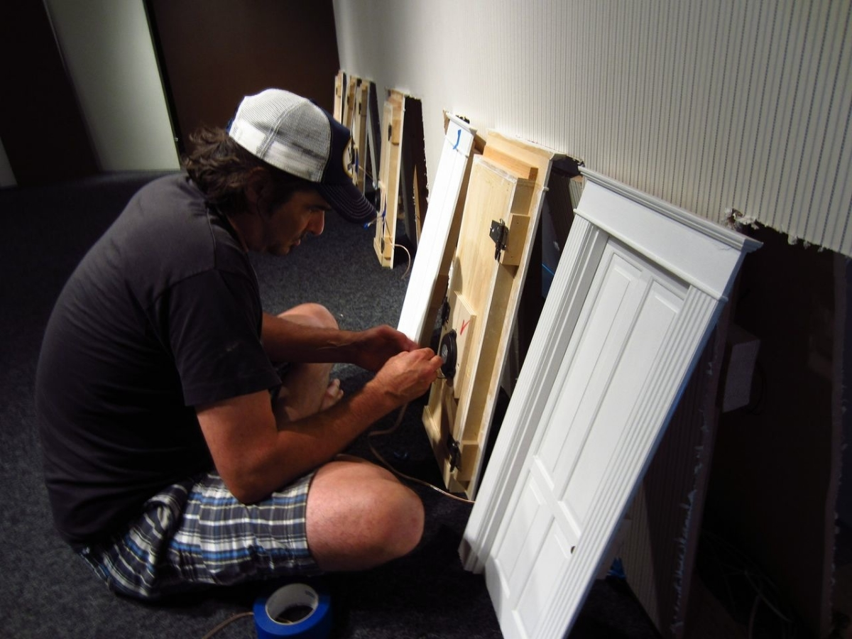 The Artist installing The Blind Trance, Bellevue Arts Museum, August 2013  .