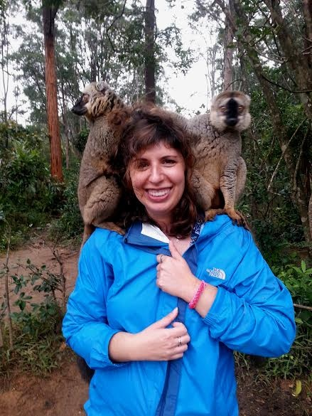 Amy visiting with some lemurs in Madagascar .