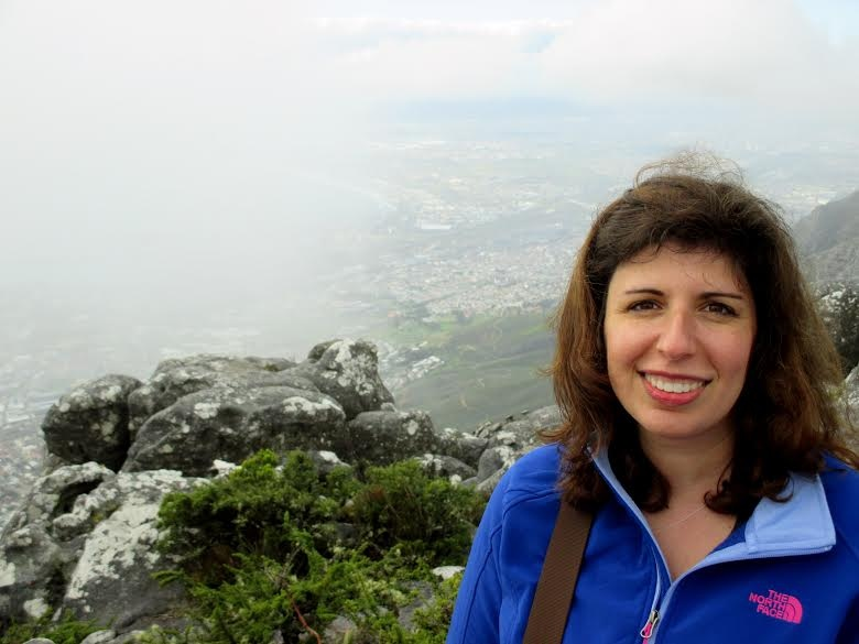 Amy at the top of Table Mountain in Cape Town, South Africa - this time without lemurs in her hair.