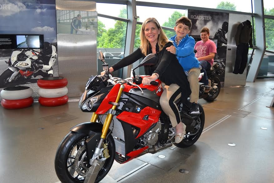 Susan and her son at the BMW Museum in Munich