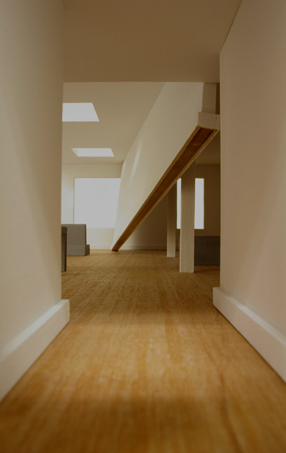 "Thomas Lendvai, ""Two Steps…,"" Model of Site Determined Wall Installation for LKC, Wood, Sheetrock, Various Building Materials, 2009"