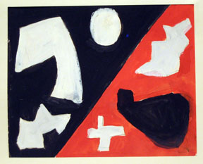 "Eve Cledenin, Untitled Abstract #2 (Orange and Black),"" Gouache, 17.75""x15.75"" framed, 1950"