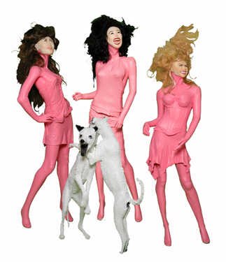 "Christy Singleton ""Basic Intelligence: gossip group"", 2008, polyester resin, synthetic hair, plastic eyes, clothing, silicone, acrylic paint (blonde) 80″ x 16″ x 12″ (brunette) 70″ x 21″ x 24″ (brown with highlights) 70″ x 27″ x 12″"