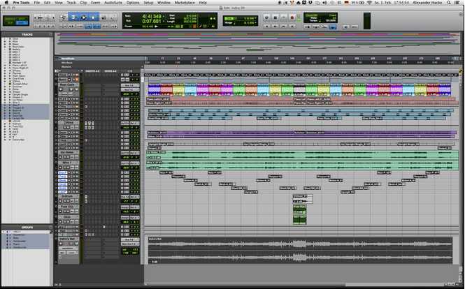 Screen-shot of the session for Indra in digital audio workstation Pro Tools.