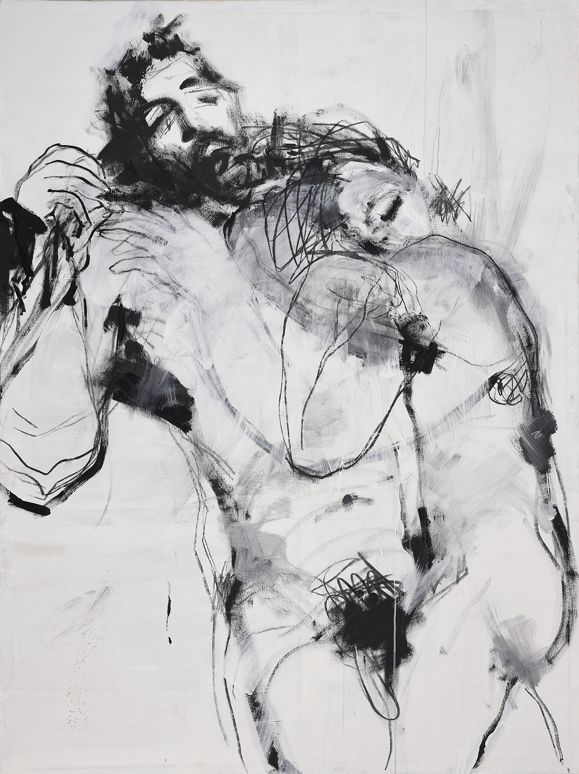 """Lovers,"" 200 x 150 cm, acrylic & charcoal on canvas"