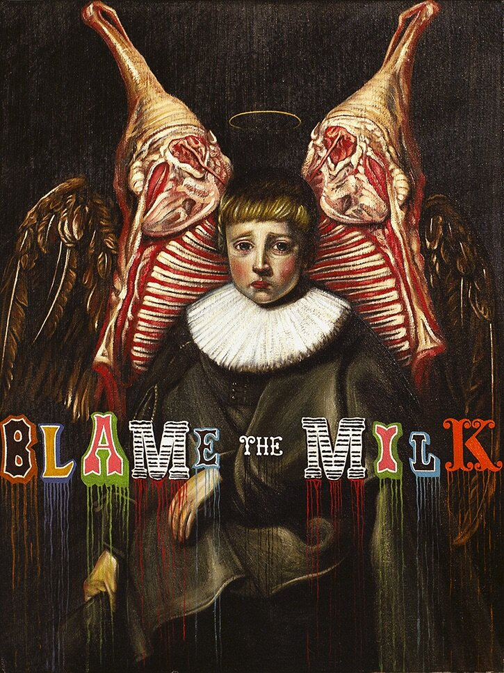 "Drew Simpson, ""Blame the Milk,"" Oil on Board, 30x40 cm, 2011"