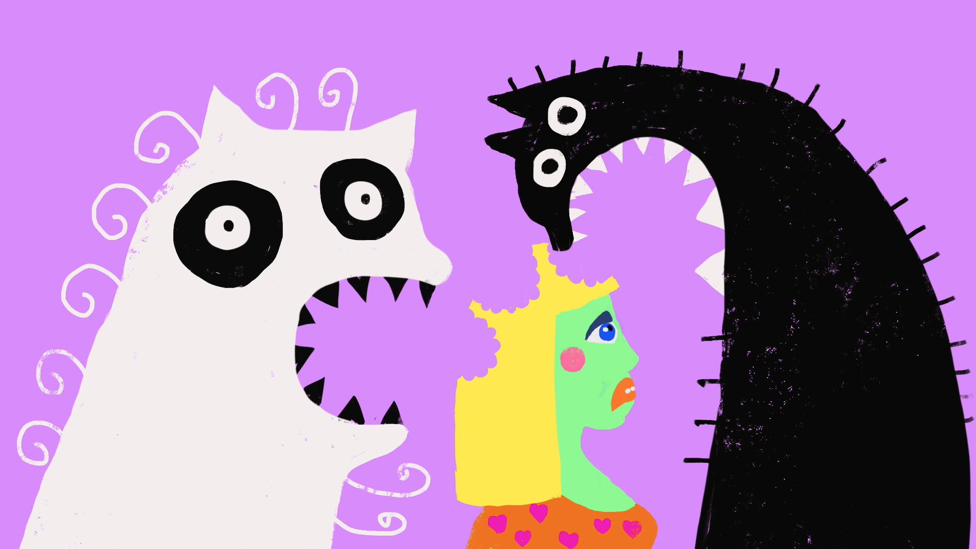 "Juliane Pieper + Sea of Daisies, ""Cat Man and Cat Ass Babe"""