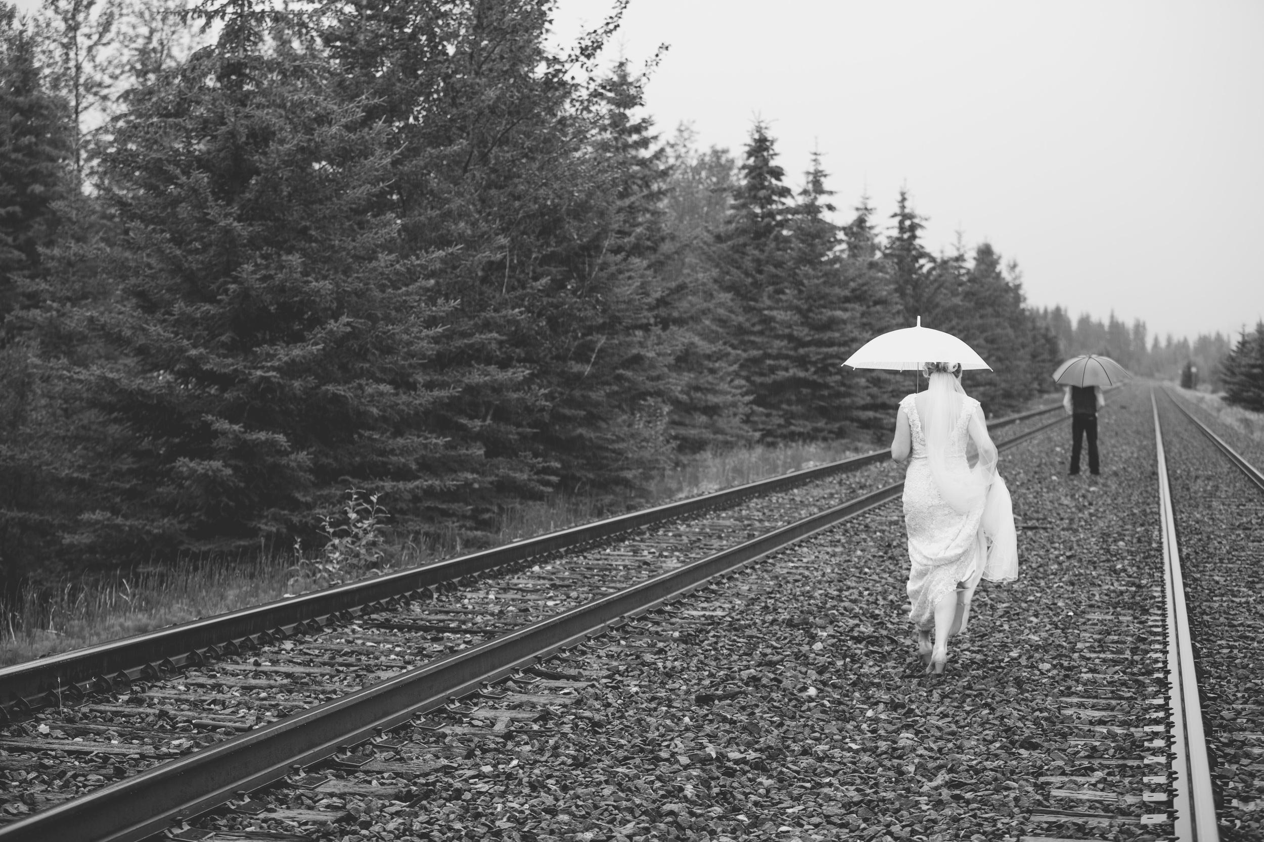 Canmore Wedding Train Tracks