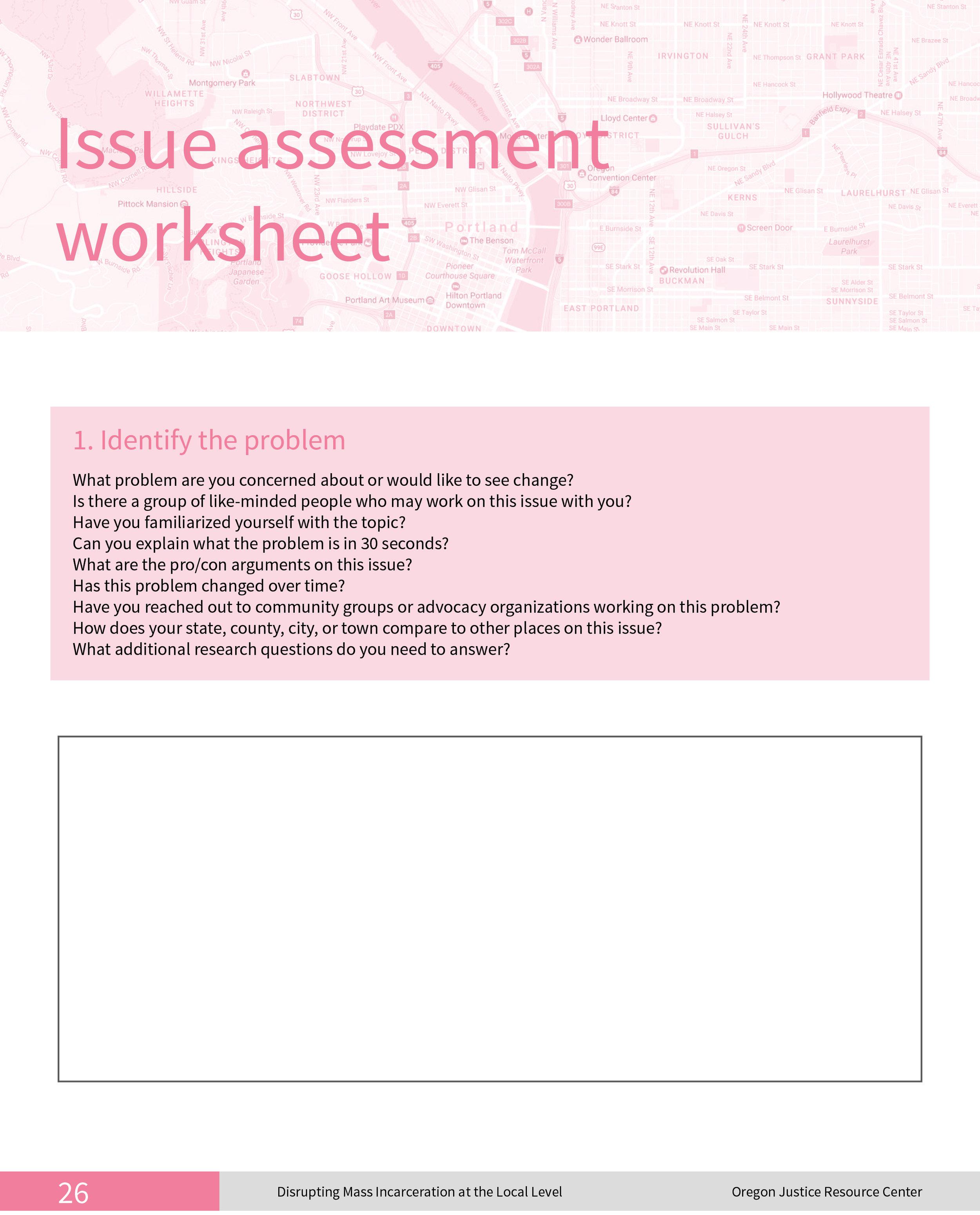 Issue Assessment Worksheet