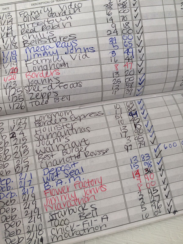 My actual bank register | Christmas circa 2004