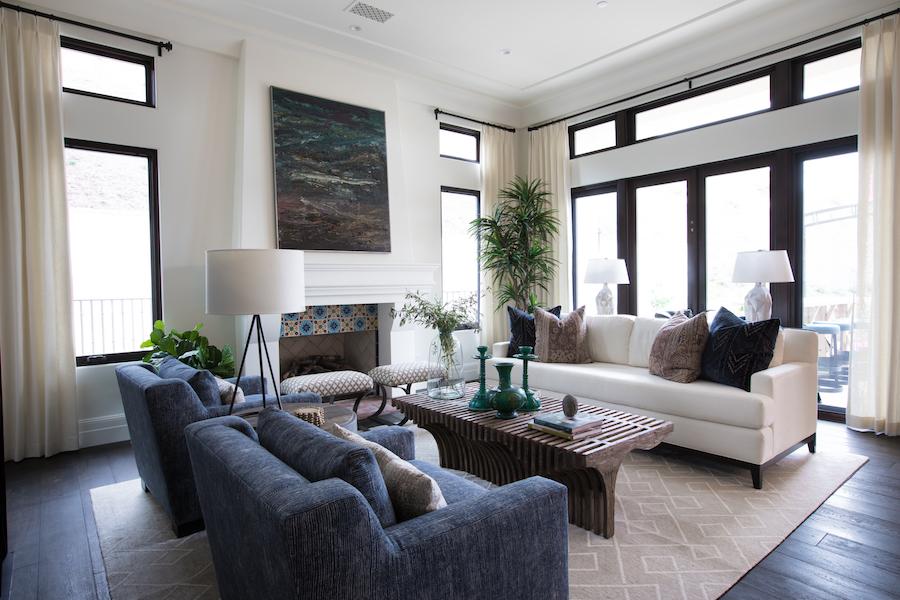 Hilltop Hacienda is an interior design project by Denise Morrison Interiors featuring a Modern Spanish living room with coffee table and custom upholstery.