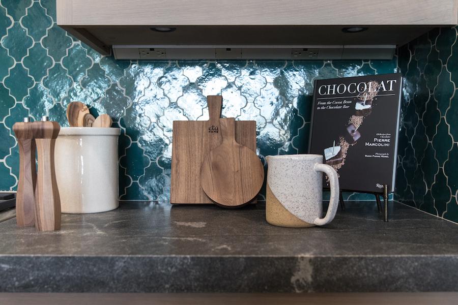 Hilltop Hacienda is an interior design project by Denise Morrison Interiors featuring kitchen backsplash tile and kitchen accessories.