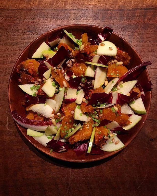 Taking tips from @nappleman and @bonappetitmag tonight for dinner for the #architecturalleague hosted by Tod Williams and Billie Tsien. Check out the current issue for more great recipes! This is the Miso Squash with Farro, Apples, Pine Nuts, & Radicchio