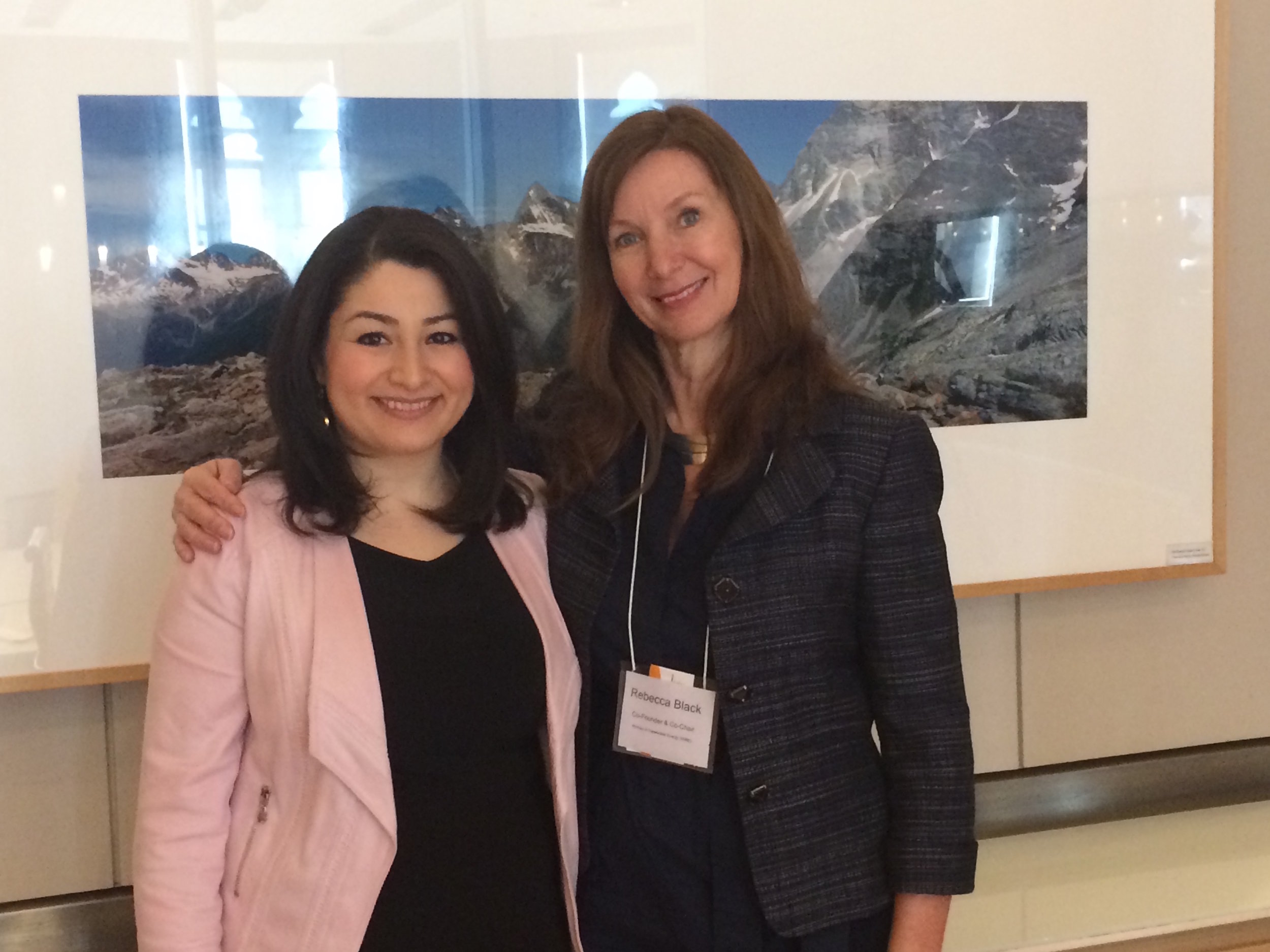 Minister for Status of Women, the Honourable Maryam Monsef with WiRE Co-Founder Rebecca Black at the announcement of the EHRC's Leadership Accord for Gender Diversity on International Women's Day 2017.
