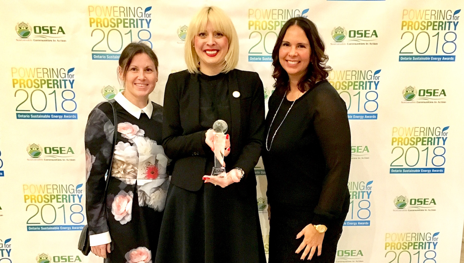 """Feb 8 2018: WiRE was recognized as NonProfit of the Year at Ontario Sustainable Energy Association's Powering Prosperity Awards. A delighted Joanna Oswae, WiRE Co-Founder and Chair, accepted the award saying """"WiRE is very passionate about working in and supporting the energy sector, and I am honoured to accept this award on behalf of the entire WiRE community"""". From l-r Jen Aitchison (Hugh Woods, WiRE Advisory Committee), Joanna Osawe (DMC Power, WiRE Co-Founder & Chair), Sarah Monture (AABO, WiRE Advisory Committee)."""