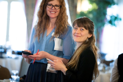 Tracy Walden    (left), CanWEA Director or Media and Communications and    Anastasia Smolentseva    (right), CanWEA Communications Advisor, managing media requests at the 2019 CanWEA Spring Forum in Banff, Alberta. Photo by Greg Paupst