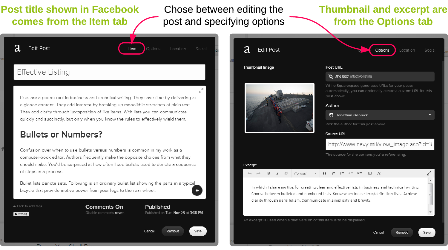 Figure 2. Specifying metadata in Squarespace for later use by Facebook