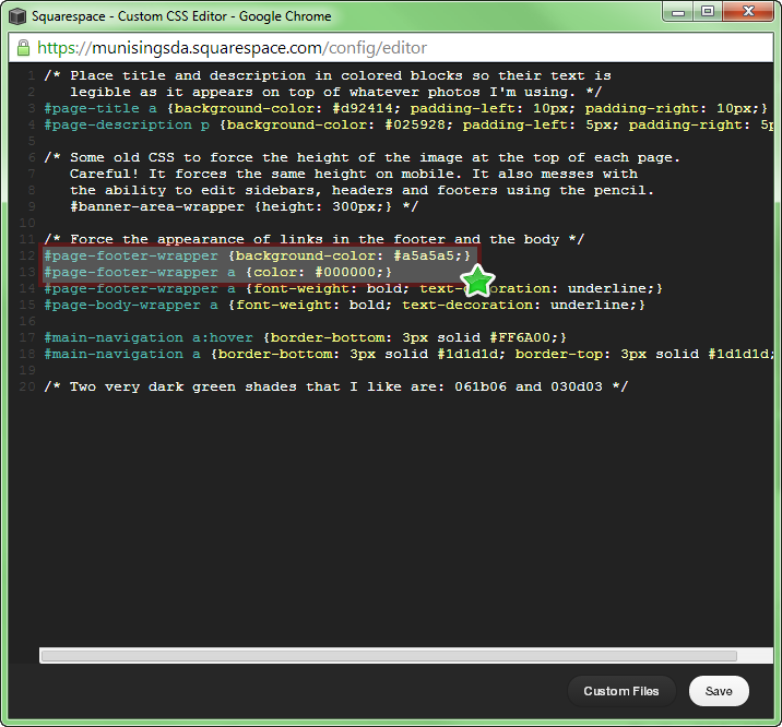 Figure 4. Place your styles rules into the Custom CSS Editor, and watch them take effect