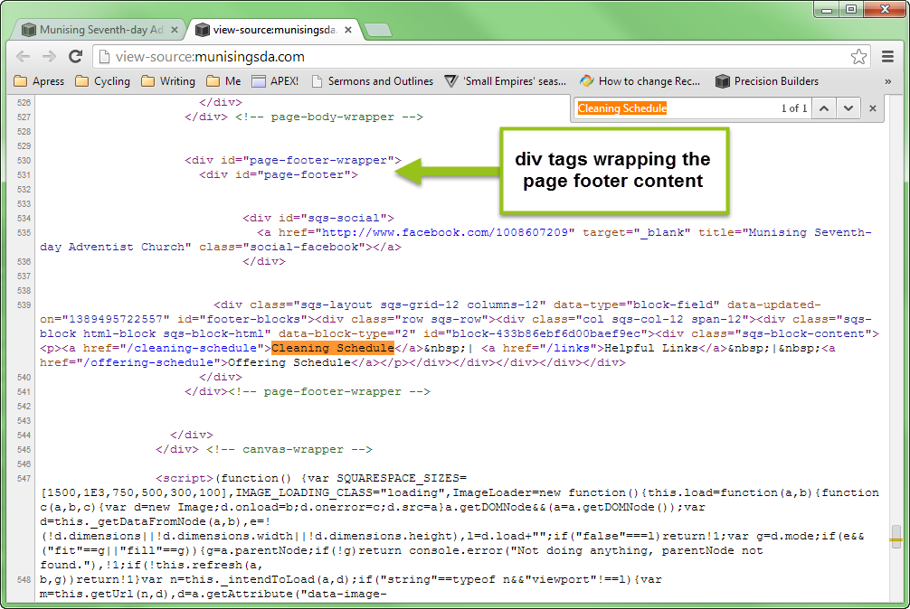 Figure 3. The page-footer-wrapper div is a likely-sounding target