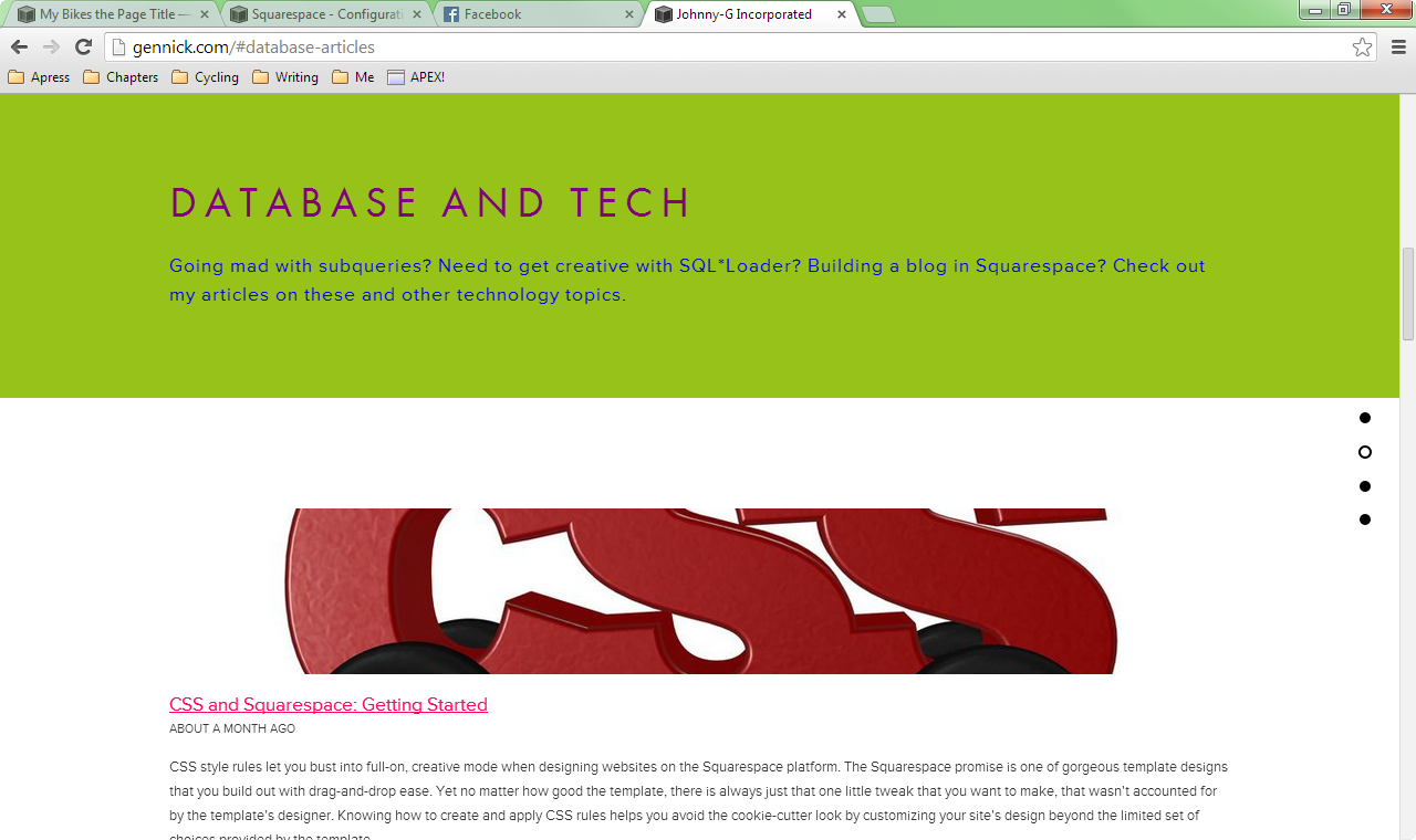 Figure 6. My home page scrolled to show the region corresponding to my Database and Tech blog page