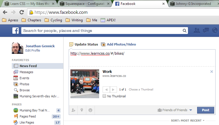 Figure 4. Metadata from the Work page (the site's home page) being displayed for the Bikes gallery