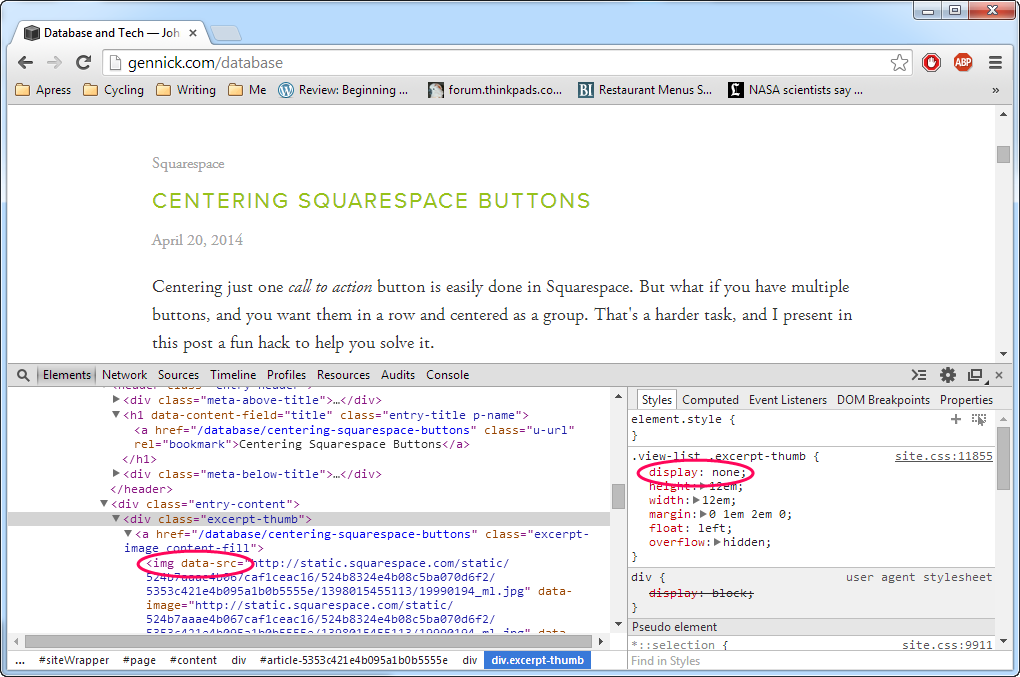 Figure 2. The underlying HTML structure in the listing of blog post excerpts