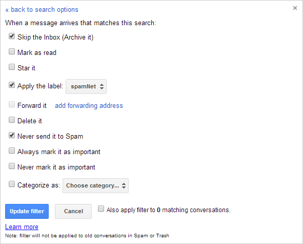 Figure 3.  Specifying Gmail's response to each incoming message from the list