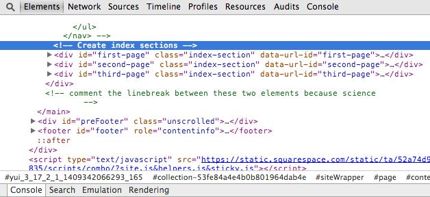 Figure 7. The three section divs as seen from a browser's HTML inspector
