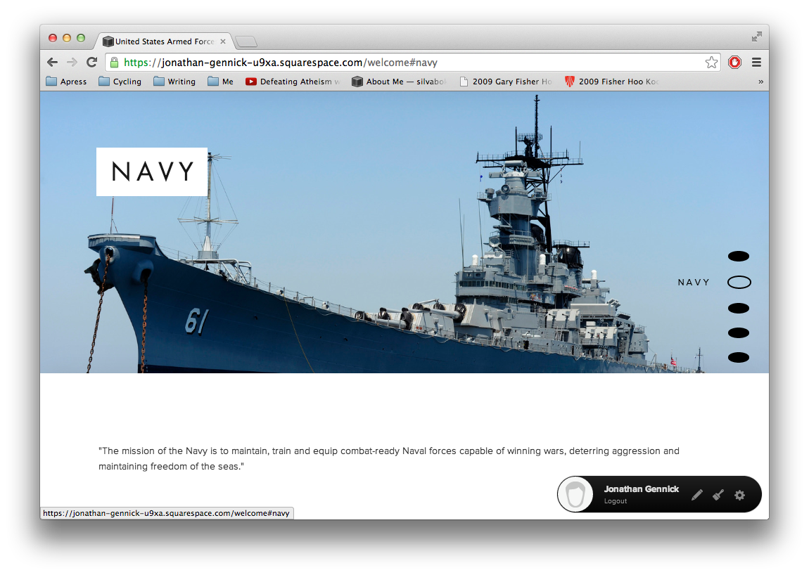 Figure 3.  Squarespace Marquee'sparallax menu in usable form with good spacing and centered alignment