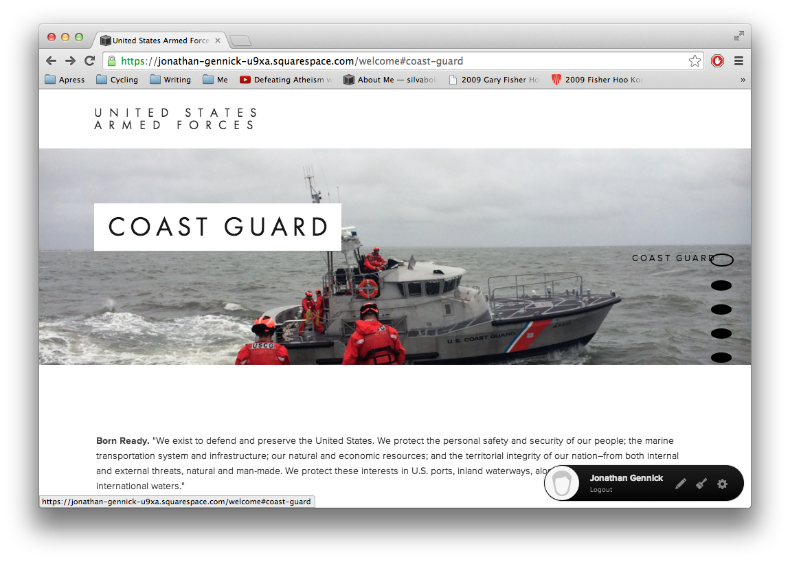 """Figure 2.  Squarespace Marquee'sparallax menu with large, oval """"dots"""""""