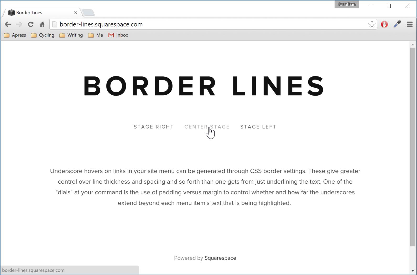 Figure 1. Default menu links in the Native template