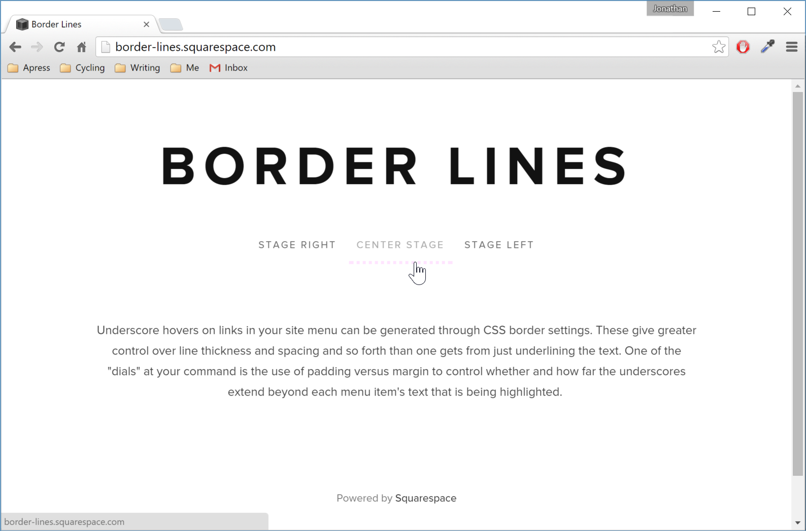 Figure 3. The hover effect extending left and right beyond the text