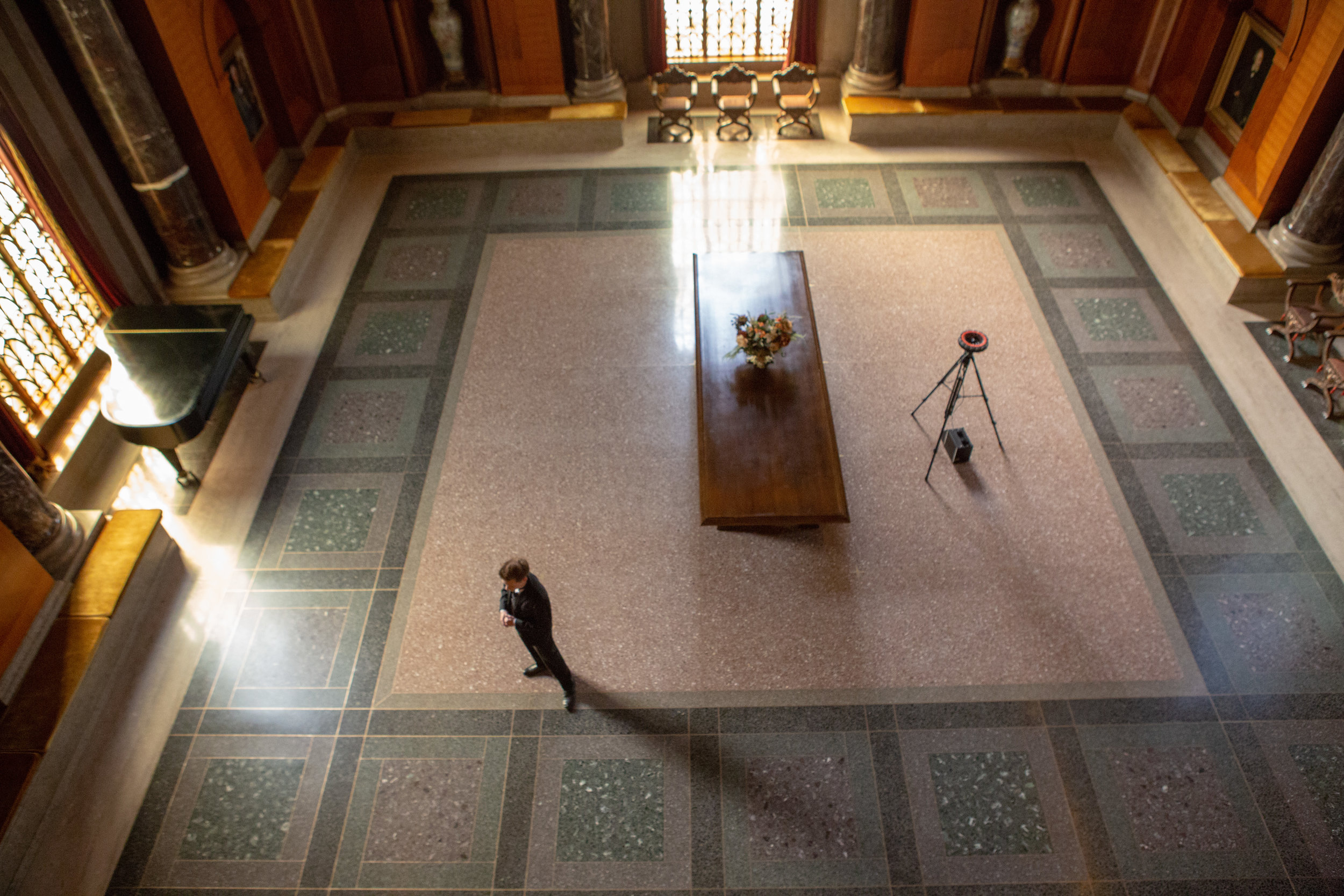 Scene 1: Pen and his girlfriend, The Odyssey GoPro. The Foyer of Meditation -  Armstrong Browning Library . photo by A. Tharp. 4.15.2018