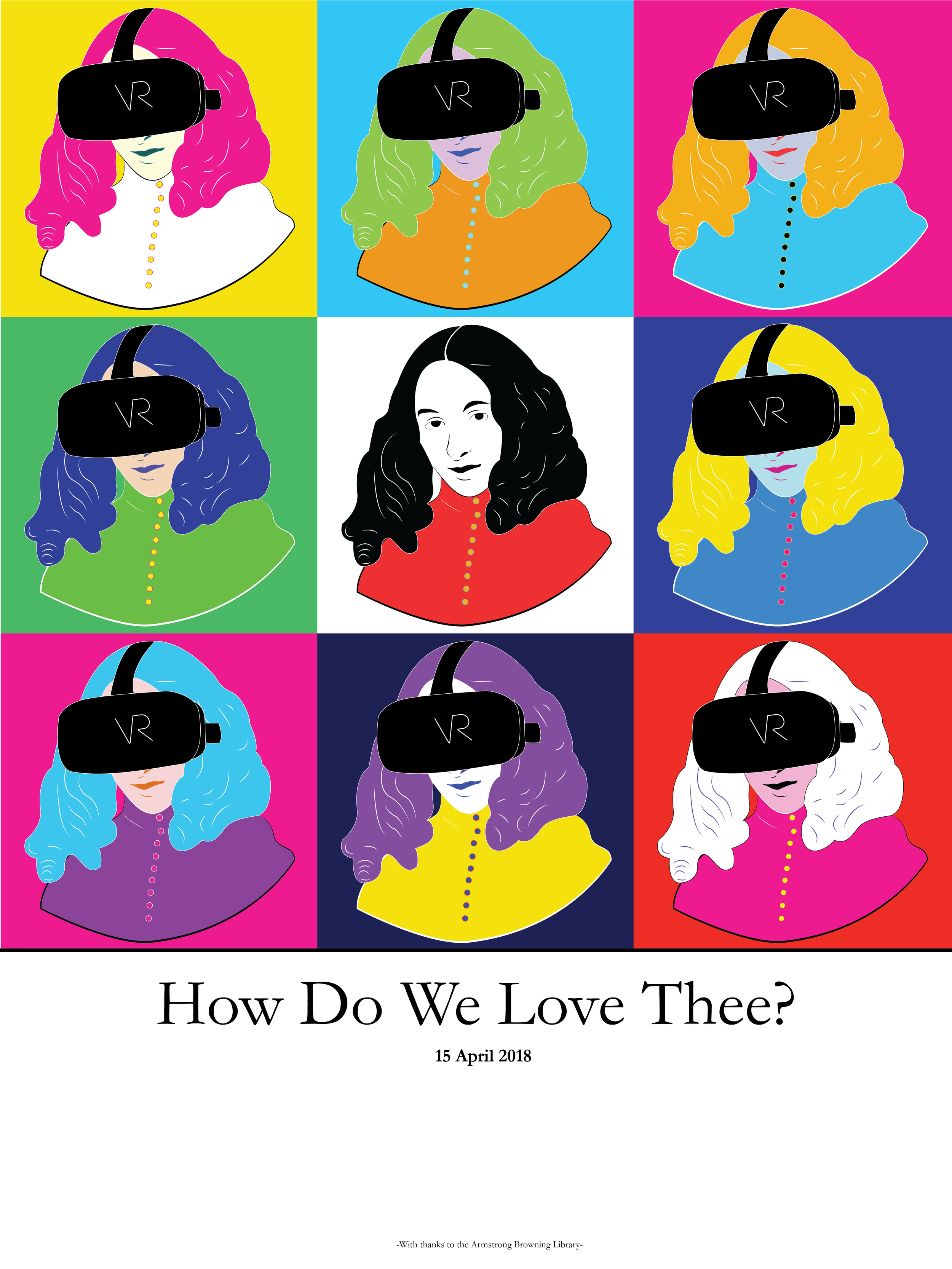 """Production poster for my dissertation construct, """"How Do We Love Thee?"""" created by A. Tharp."""