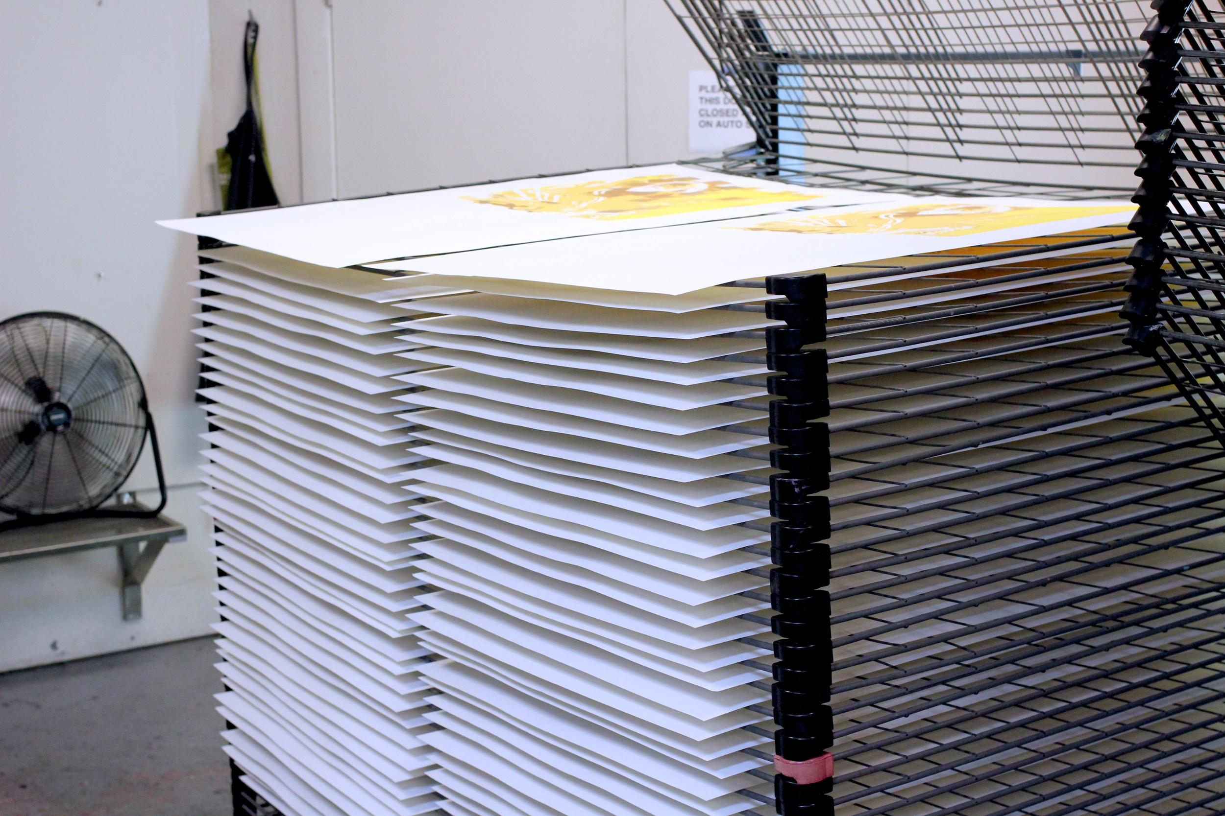Prints drying in stacks between colors