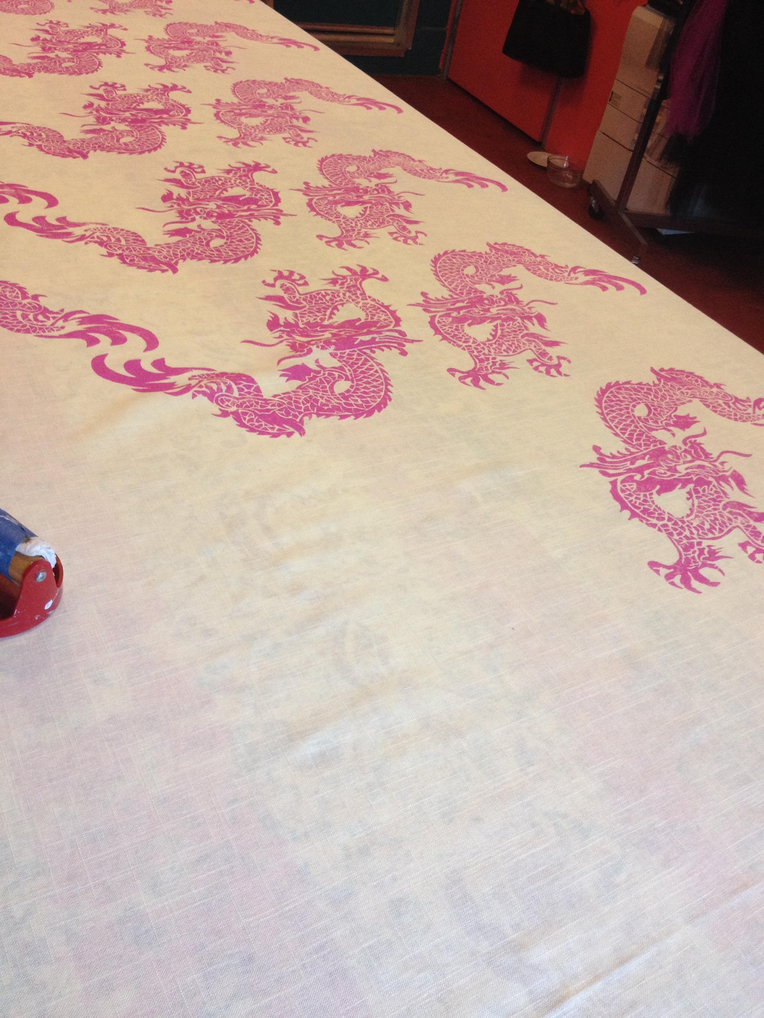 Printing the Nastasha fabric, 2 color ways