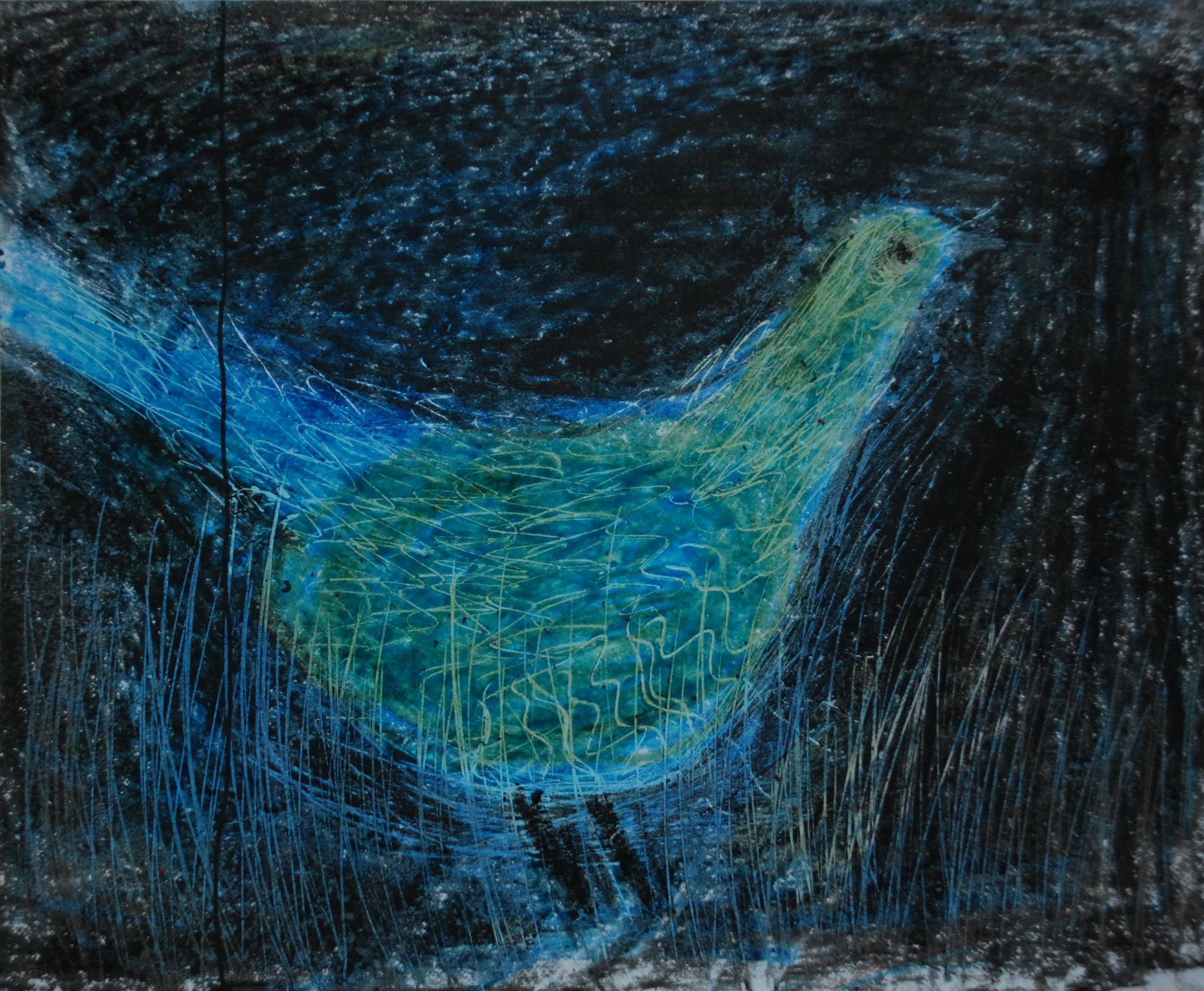 Oil pastels on paper, imaginary bird.