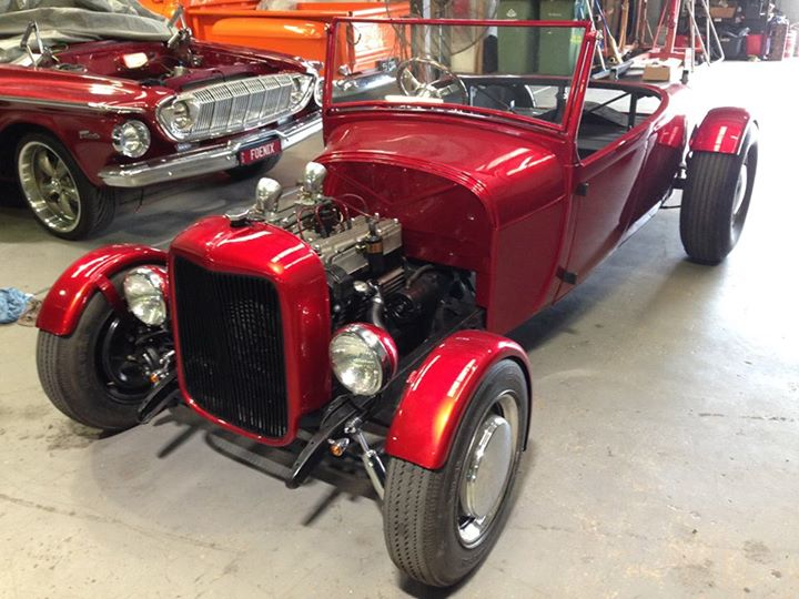 Our '29 Model a roadster now has guards and the engine has been commissioned...the trimmer will be here next week to finish it off.